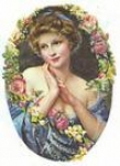 Oval Lady with Floral Garland