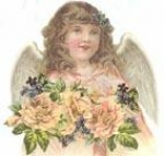 Angel with Pink Roses