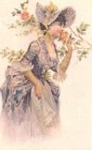 Lady with Purple Dress Smelling Rose