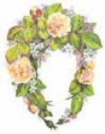 Cream Rose Mirror Set (2 wreaths & swag)