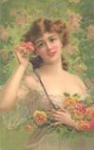 Girl with Apricot Roses